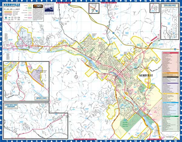 Kerrville Texas Maps By JCGraphix